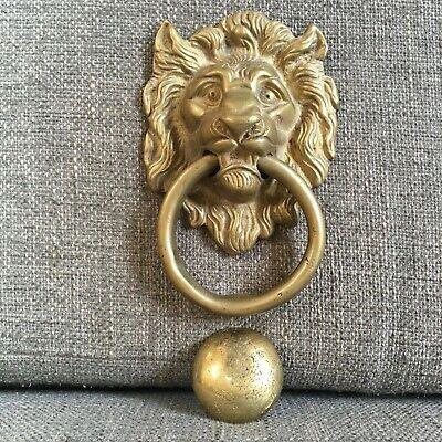 Vintage Antique Old Solid Brass Door Knocker Lion Head Ring Ebay