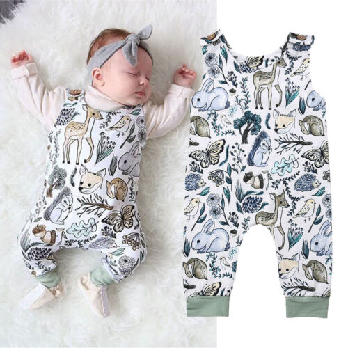 Newborn Infant Baby Girl Boy Sleeveless Romper Jumpsuit One-Piece Overall Outfit