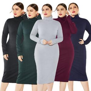 Women-Knit-Turtleneck-Bodycon-Pencil-Stretch-Sweater-Dress-Long-Sleeve-Plus-Size