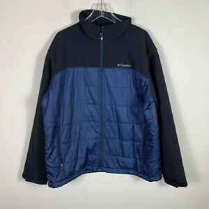 Columbia-Softshell-Puffer-Jacket-Men-039-s-Size-XL-Full-Zip-Blue-Black