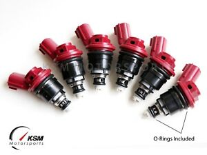 16600-RR544 4PCS Red Side Feed 740cc Fuel Injectors Compatible with NISMO Nissan SR20DET