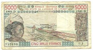 Mali-5000-Francs-1981Dc-Woman-at-left-fish-and-boats