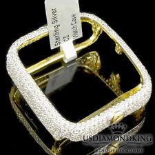 14K Yellow Gold Over Real Silver Apple Watch Lab Diamond Case 38MM Sport Bezel