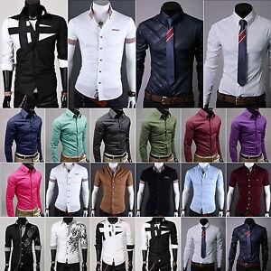 Hombre-Ajustado-Vestido-Camisas-Manga-Larga-Lujo-De-Vestir-Casual-Trajes