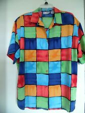 Over Size Womens~  Le Caviar Multi Color Plaid Shirt Tp Bluse Sz Xl