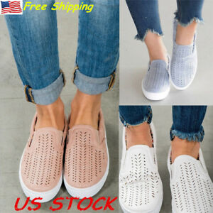 USA-Women-Casual-Hollow-Out-Round-Toe-Flat-Heel-Slip-On-Loafer-Oxfords-Shoes-New
