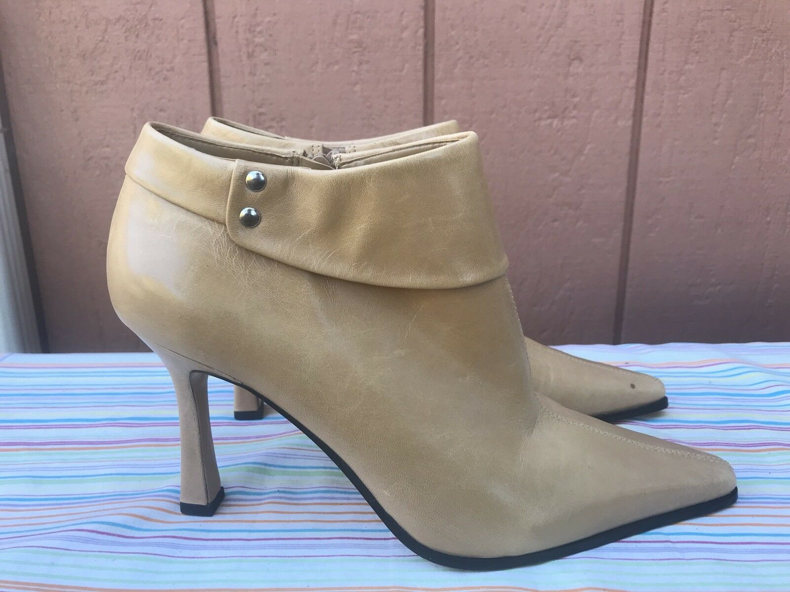 NEW Nine West O-PAM-O Women US 7.5M Brown Leather Ankle Boots Pointed Toe