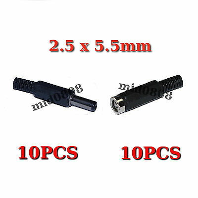 10 pairs DC Power 5.5x2.5mm Male Female Plug Jack Connector Socket Adapter