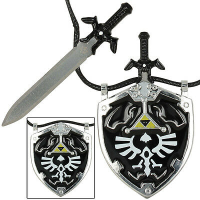 NEW Dark Link Master Sword & Hylian Shield Legend of ZELDA Necklace - Black