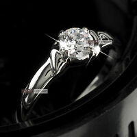 18K WHITE GOLD GP MADE WITH SWAROVSKI CRYSTAL ENGAGEMENT WEDDING RING 0.5CT