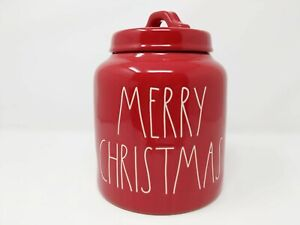 New-Rae-Dunn-2019-Merry-Christmas-Canister-Red-White-Large-Letter-By-Magenta