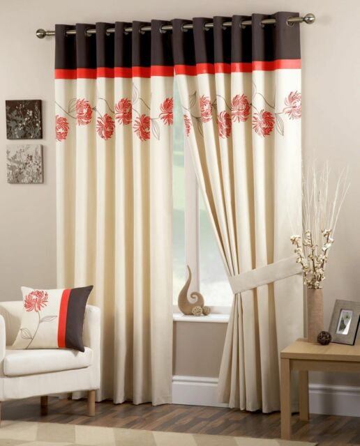 Living Room Embroidery Floral Lined Ready Made Voile Eyelet Ring Tops Curtains B