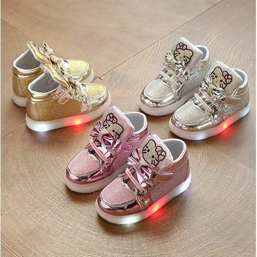 Cute Kitty Light Up Toddler Sneakers Casual LED Shoes Size 21-25
