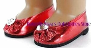 Metallic-Red-Slip-On-Gem-Toe-Shoe-18-in-Doll-Clothes-Fits-American-Girl