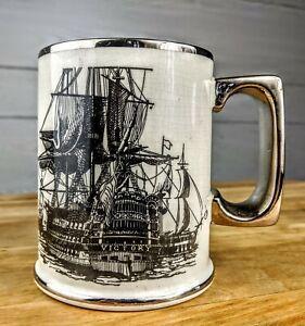 Arthur-Wood-Mug-HMS-Victory-Sailing-Ship-Mug-Ceramic-with-Silver-Accents