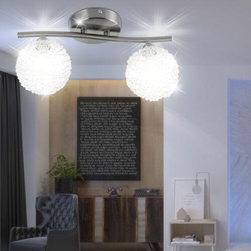 Luxus Deckenleuchte Schlafzimmer ALU Kugelgeflecht Glaslampe Flur Beleuchtung