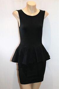 SUPRE-Brand-Black-Peplum-Fitted-Singlet-Mini-Dress-Size-XS-BNWT-TU94