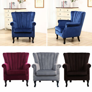 Wing Backed Armchair Accent Upholstered Chair Living