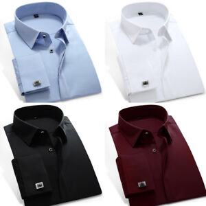 Mens-Dress-Shirts-Luxury-French-Cuff-With-Cufflinks-Slim-Business-Camisas-C6332