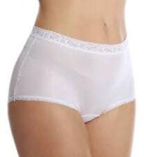 LORRAINE Nylon Full Cut Lace Trim Brief Panties WHITE Plus Size 13 2