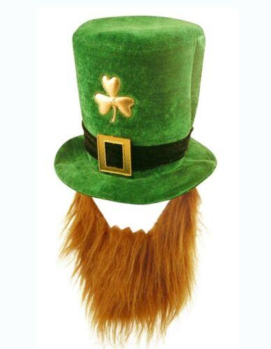 Mens St Patricks Day Green Shamrock Leprechaun Hat /& Ginger Beard Irish Costume