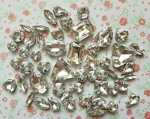 50pcs Mixed Sew On GOLD Crystal Glass Diamante Claw Set Rhinestone Gem Bling