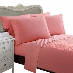 Solid Luxury King Size Bed Sheet Set 100/% Cotton 1000 Thread Count Pink