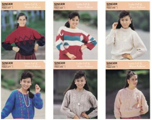 Singer Ladies Fall & Winter Pullover Sweaters Machine Knitting Patterns Lot of 6