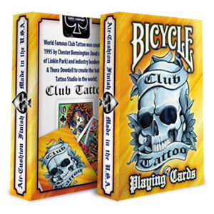 Details About Club Tattoo Bicycle Playing Cards Black Blue Yellow Linkin Park Rare Uk Stock