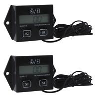 2x Digital Engine Tach Tachometer Hour Meter Gauge Inductive For Motorcycle Us on Sale