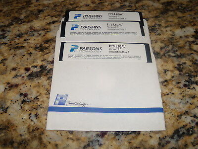 "2019 Nieuwe Stijl Parsons Technology It's Legal Version 2.0 (pc, 1991) 5.25"" Floppy Disks"