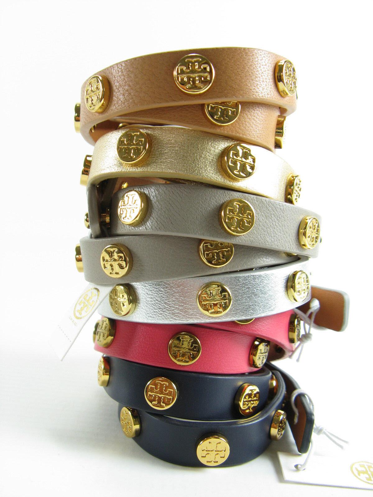 NWT Tory Burch Leather Double Wrap Logo Stud Bracelet AUTH  95