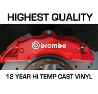 BREMBO HI - TEMP CAST 12 YEAR VINYL BRAKE CALIPER DECALS STICKERS