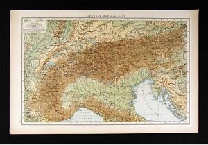 Details about 1896 Times Map - Alps - Switzerland Italy Germany Austria  France Europe Physical