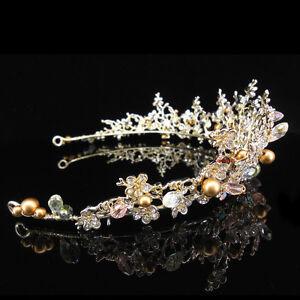 Luxury-Quality-5cm-High-Gold-Pearl-Crystal-Adult-Big-Tiara-Crown-Wedding-Prom