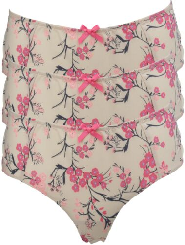 Ex Store Shortie Knickers with Pink /& Black Japanese Floral Print Nude