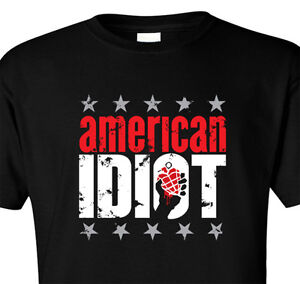 T SHIRT AMERICAN IDIOT TOUR GREEN DAY BAND BOMB PUNK FUNK ROCK GRENADE CONCERT