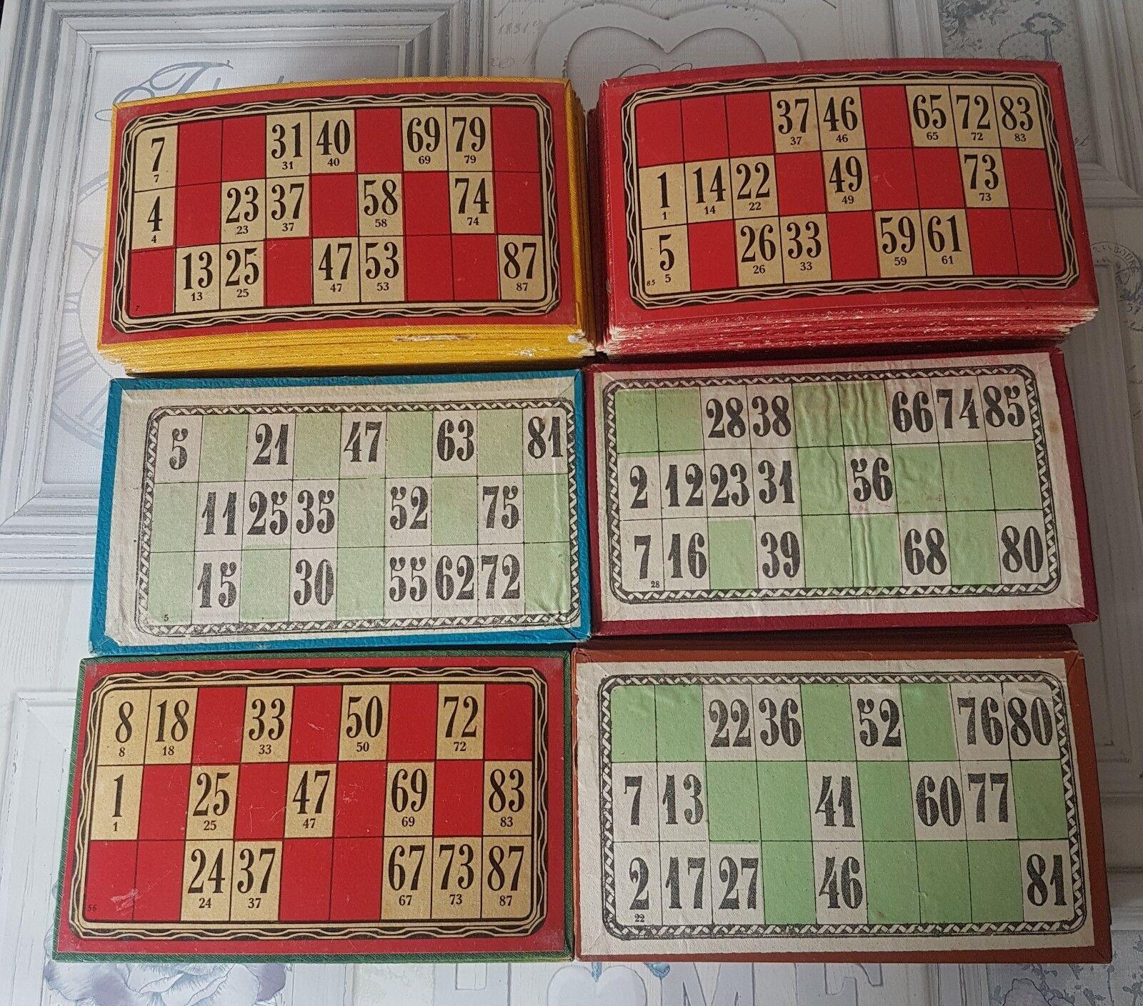 Francese Vintage Lotto di 90 carte Bingo Colorati Misti