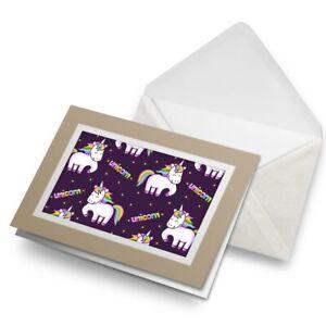 Greetings-Card-Biege-Purple-Unicorn-Horse-Cute-2108