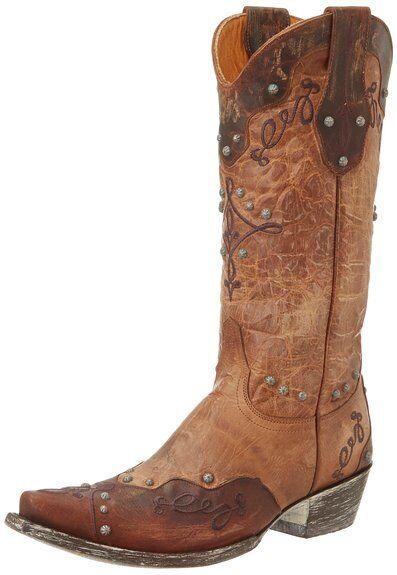 NEW OLD GRINGO ALISSA L1614-1 BRASS marrón STUDDED mujer WESTERN COWBOY botas