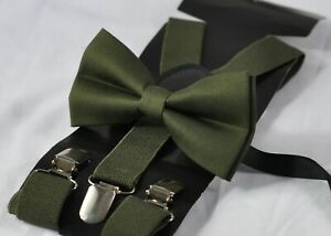 Dark-Olive-Green-Army-Green-Cotton-Bow-Tie-Suspenders-Braces-for-All-Ages