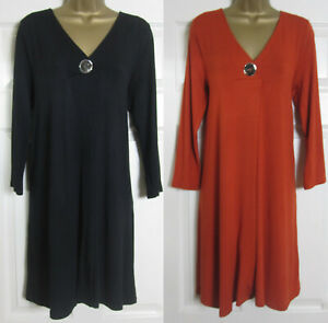 NEW-Evans-Womens-Plus-Size-Tunic-Top-Blouse-Stretchy-Work-Black-Rust-Red-14-32