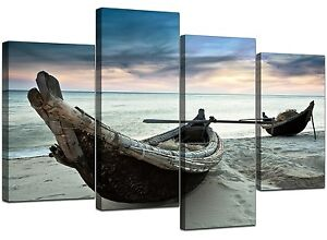 Large-Blue-Beach-Sea-Sunset-Canvas-Wall-Art-Pictures-XL-Set-Boats-4107