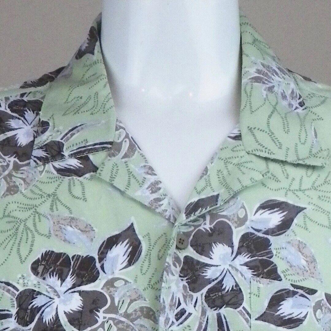 7987ded3 Mens Hawaiian Shirt 2XL Hibiscus Tropical Ti Leaves Green Browns Aloha  Friday