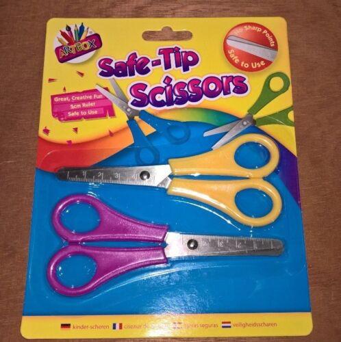 Childrens Safe Pointe Ciseaux Set de 2 Sécurité Ciseaux 5 cm règle