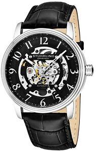 Stuhrling Men's Dress Skeleton Self Wind Automatic Watch Leather Strap 970.01