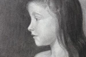 Portraet-von-Kleines-Maedchen-Kohlezeichnung-August-1902-oder-1907-Marke-Papier-IN
