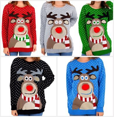 Geschickt New Womens Ladies Rudolph Pom Pom Snowfall Knitted Christmas Sweater Jumper