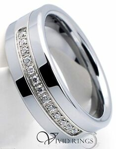 Mens Tungsten Carbide Wedding Ring 13 CZ Mens Band 8mm Size 75 to