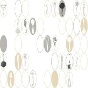 Kitchen Utensils /& Ovals Wallpaper KB8584 white metallic silver black prepasted